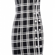 Black and white checkboard wiggle dress