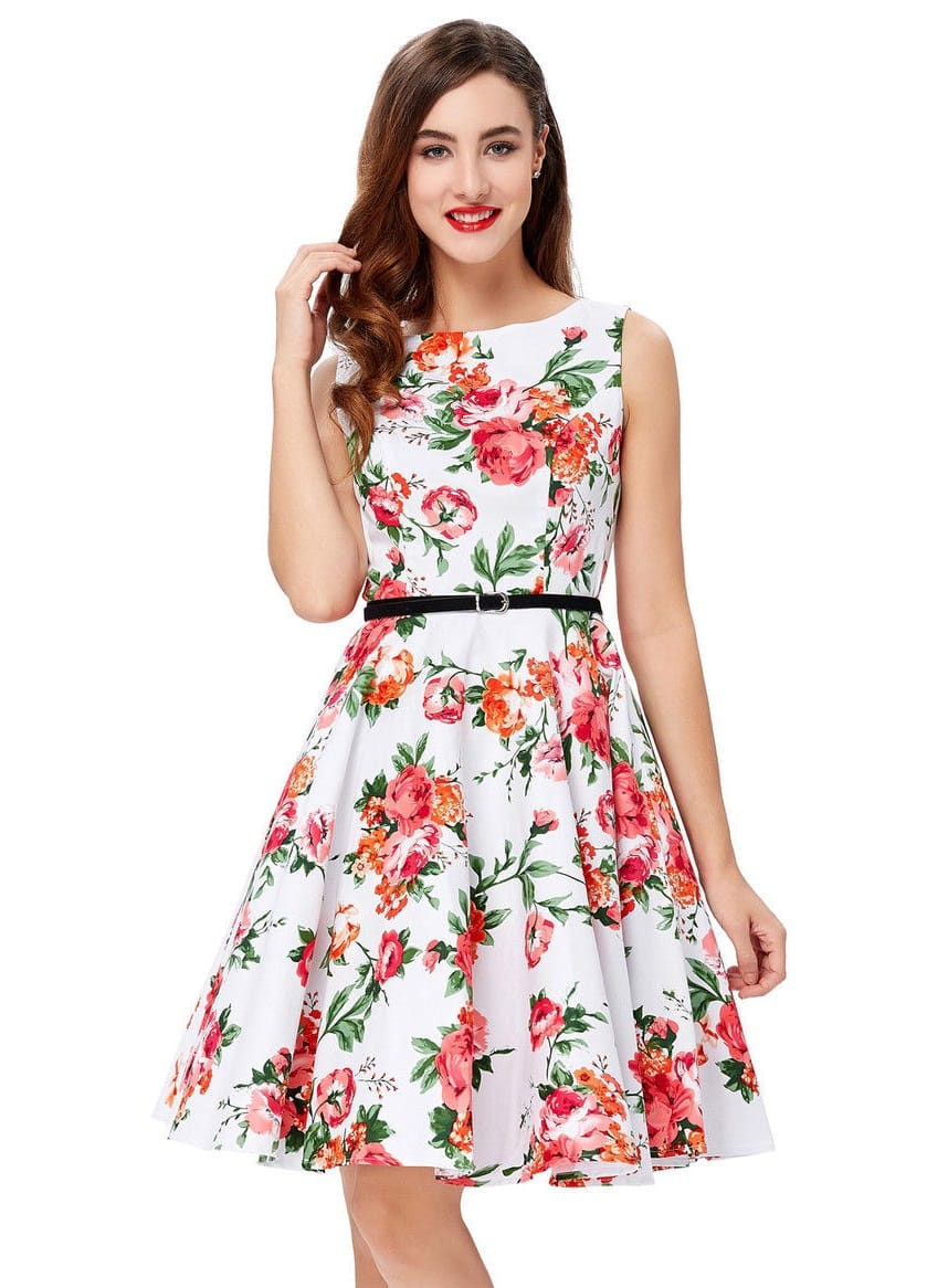 Red Rose Swing Dress Vintage Clothing Online 1950s Glam