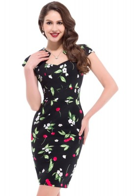 50s-black-and-green-cherry-wiggle-dress