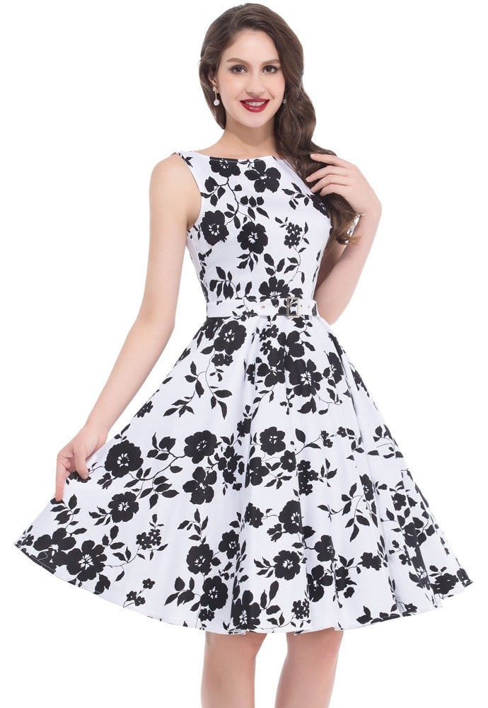 Audrey black white floral dress 1950sglam audrey black and white floral dress mightylinksfo