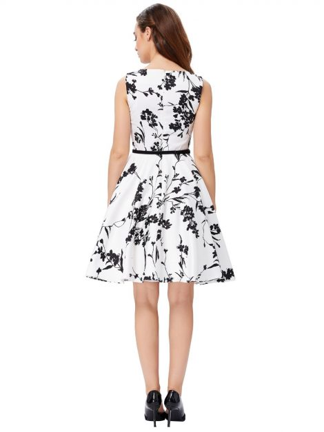 black and white vintage tea dress