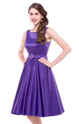 Audrey purple satin swing dress