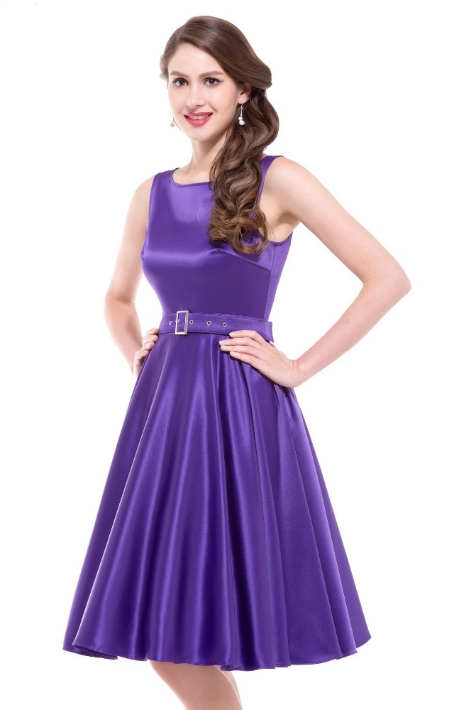 Audrey Purple Satin Swing Dress | 1950sGlam