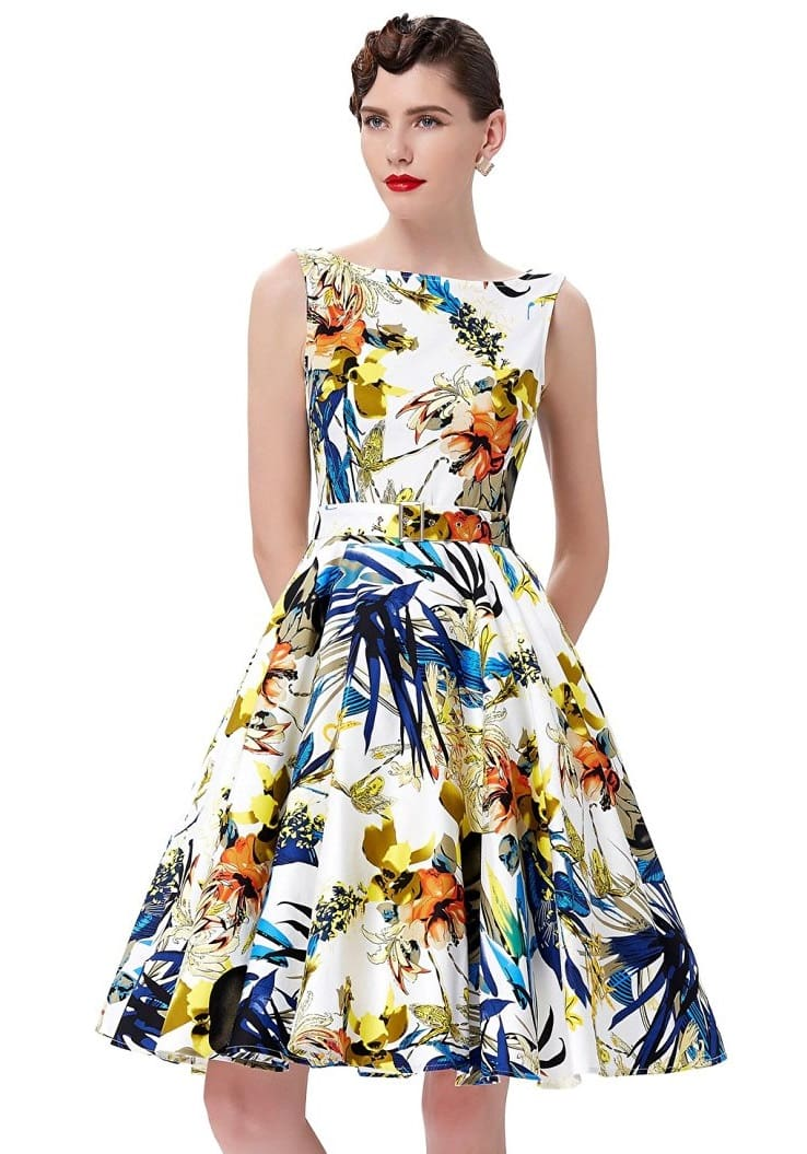 Audrey Retro Tropical Floral Swing Dress 1950sglam