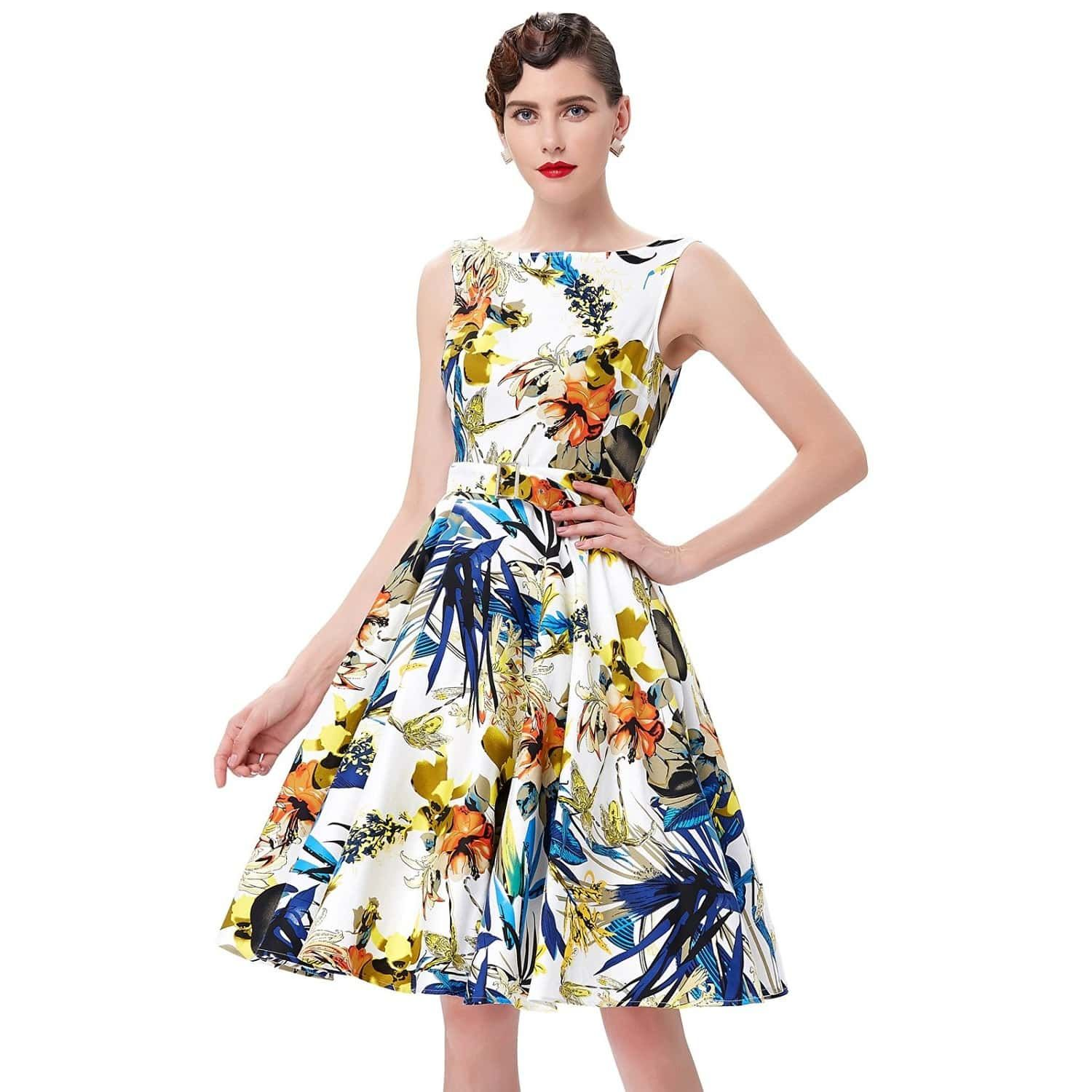 Audrey retro tropical floral swing dress