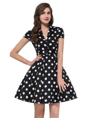black-and-white-polka-short-dress