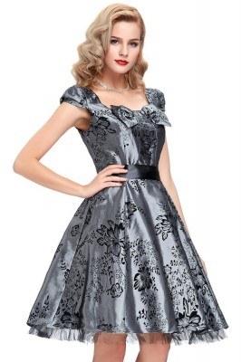 Grey taffeta evening dress