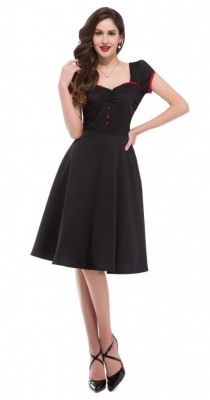 Sweetheart black swing dress