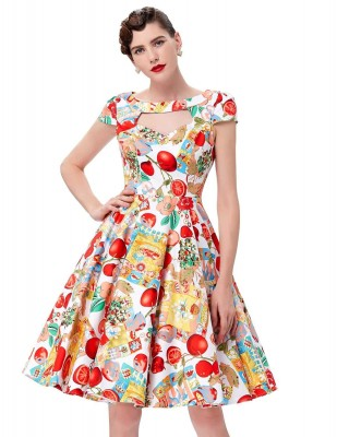 Vintage Fruity Swing Dress