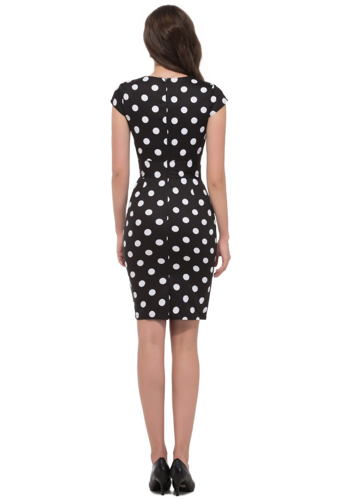 50s Black And White Polka Wiggle Dress Vintage Clothing