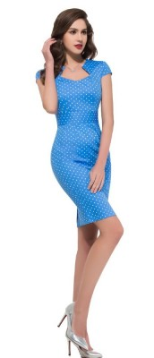 blue and white polka wiggle dress