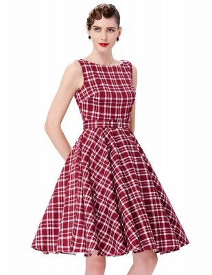 Audrey retro red tartan swing dress