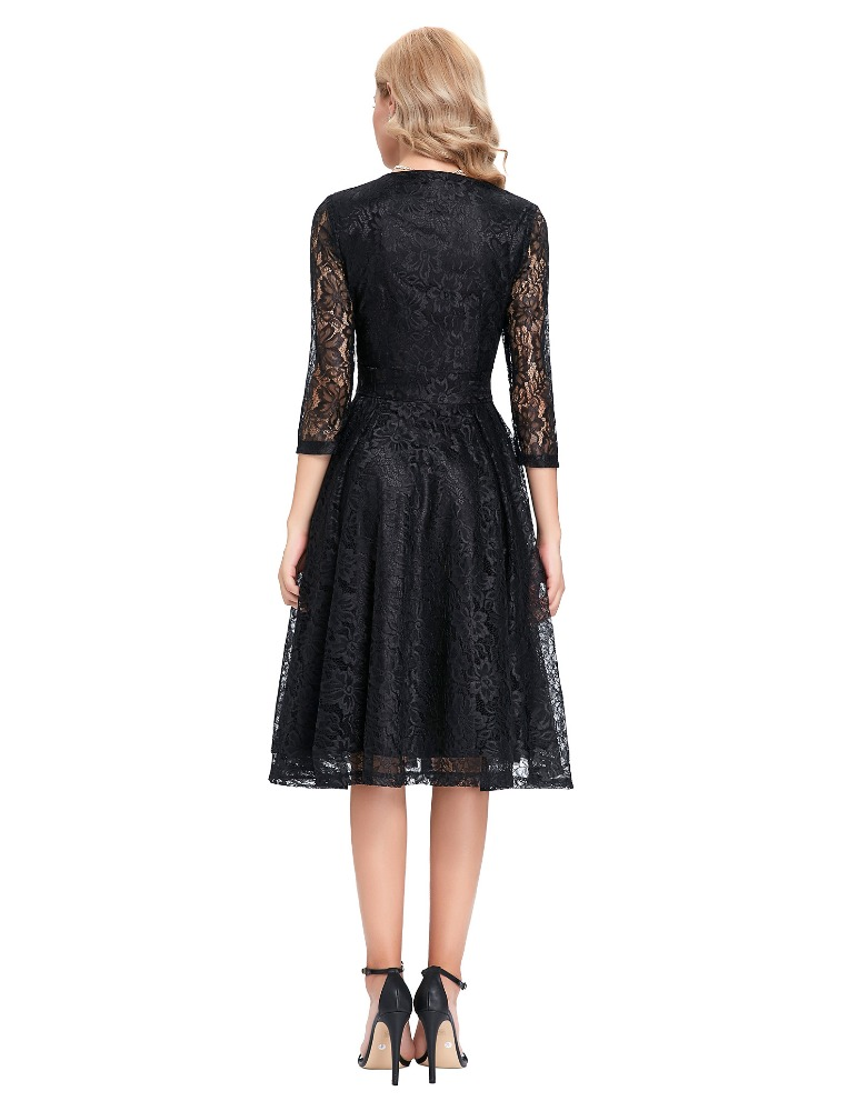 Rita Black Lace Dress - Back