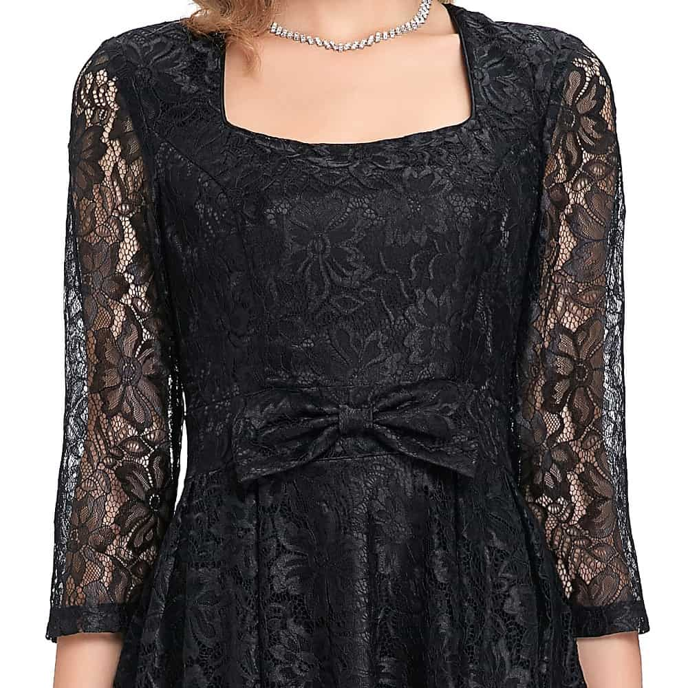 Rita Black Lace Dress Detail