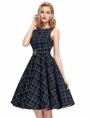 Audrey Blue and Black Tartan Swing Dress