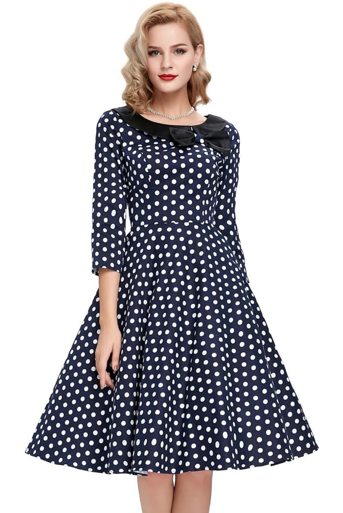 Ellie Blue and white polka dress