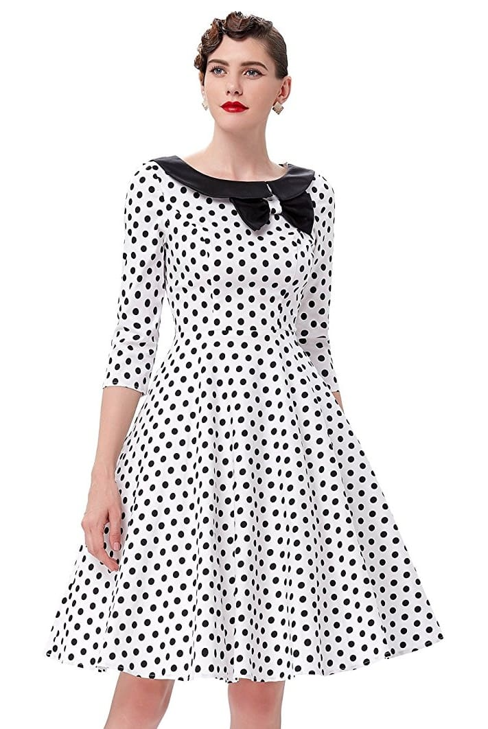 Polka dot dresses come in a variety of styles. From short, casual frocks to knee-length party and cocktail dresses, there's something for every preference. The sizes of the polka dots vary from dress to dress.