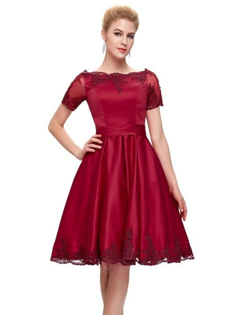 Evelyn vintage style crimson satin dress