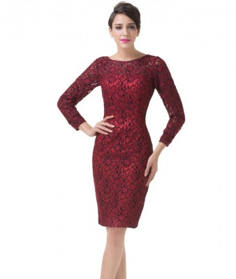 Katherine Red Lace Wiggle Dress