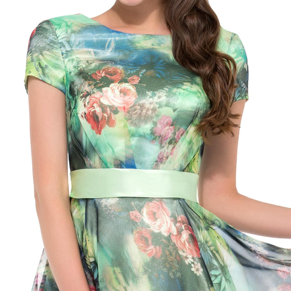 Lucy\' Green Pastel Floral Chiffon Party Dress   1950sGlam