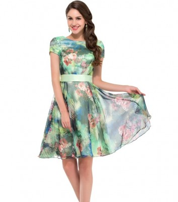 Lucy green pastel chiffon floral