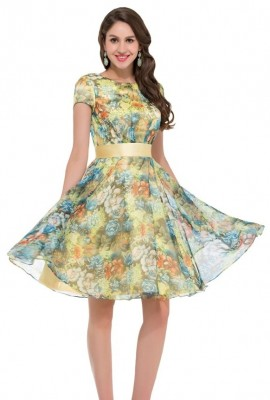 Lucy yellow pastel chiffon swing dress