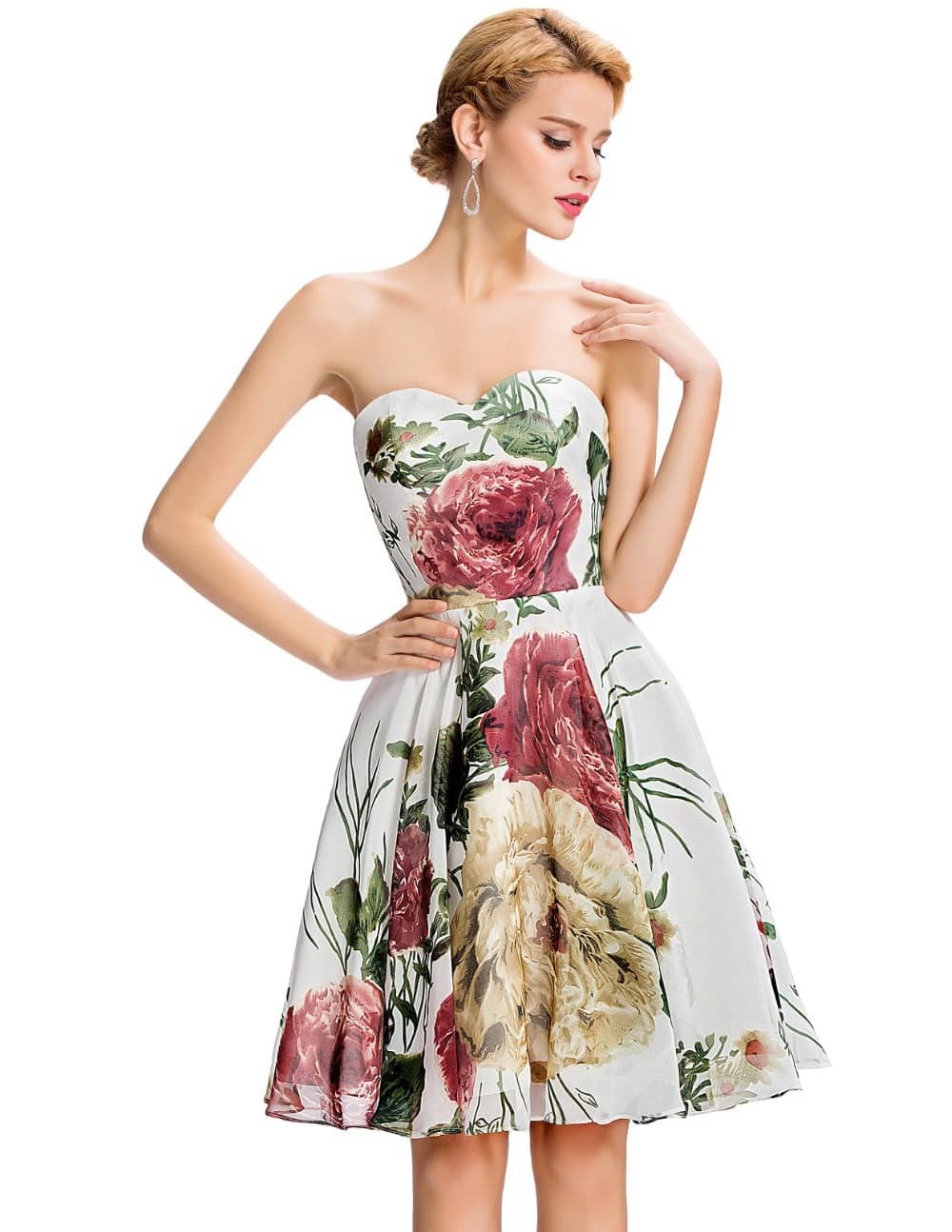 Marianne vintage floral chiffon party dress-front