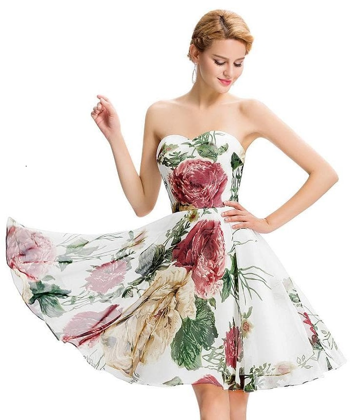 Marianne vintage floral chiffon party dress