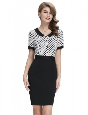 Peggy splice polka pencil dress