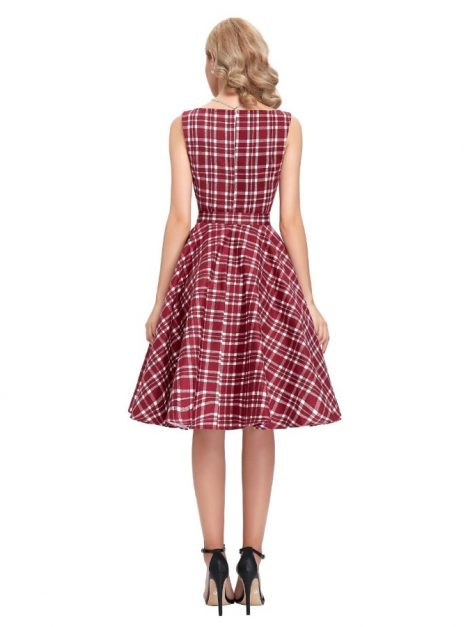 Red tartan swing dress-back