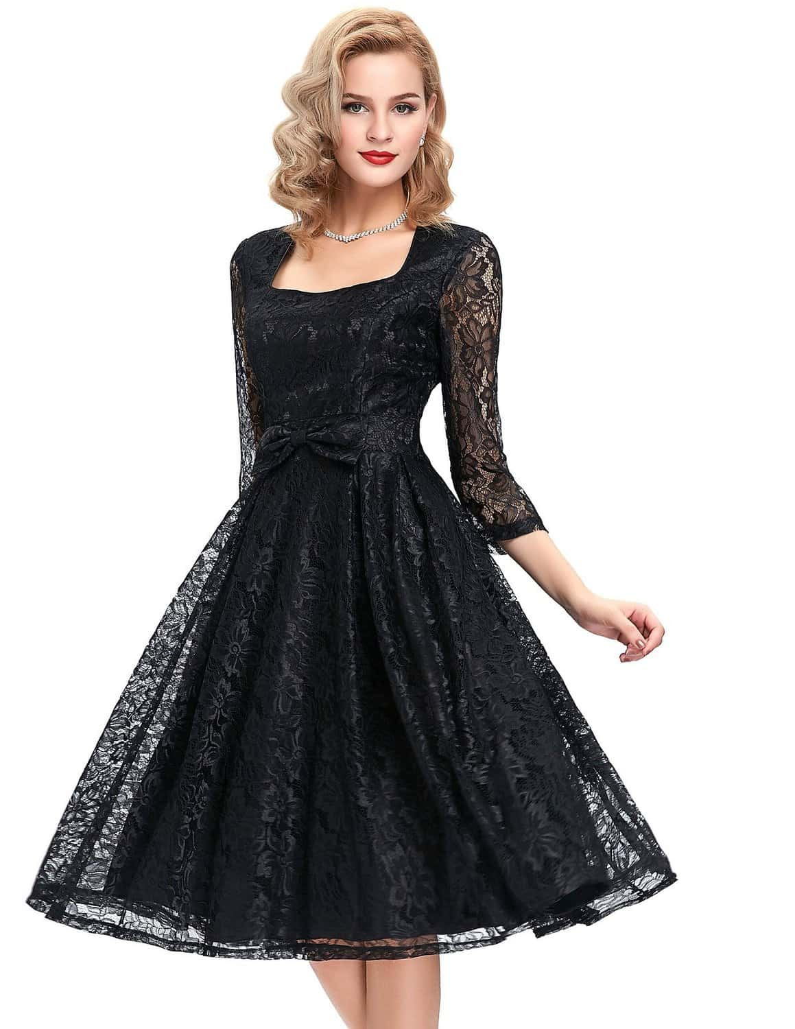 Rita Black Lace Dress | 1950sGlam