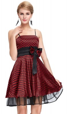 Suzie Satin Party Polka Dress-front