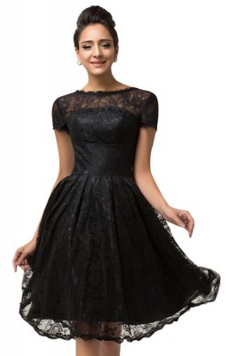 Vivien Black Lace Cocktail Dress