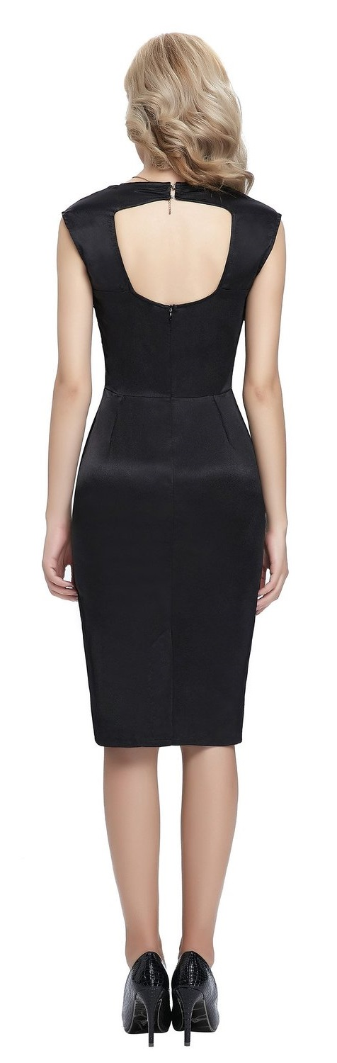 Cynthia Vintage Black Satin Dress-back