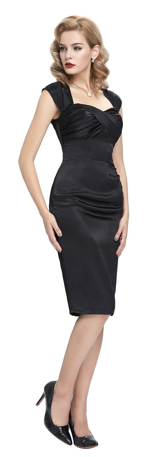 Cynthia Vintage Black Satin Dress - side