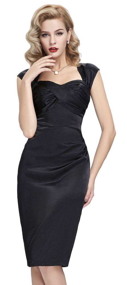 Cynthia Vintage Black Satin Dress