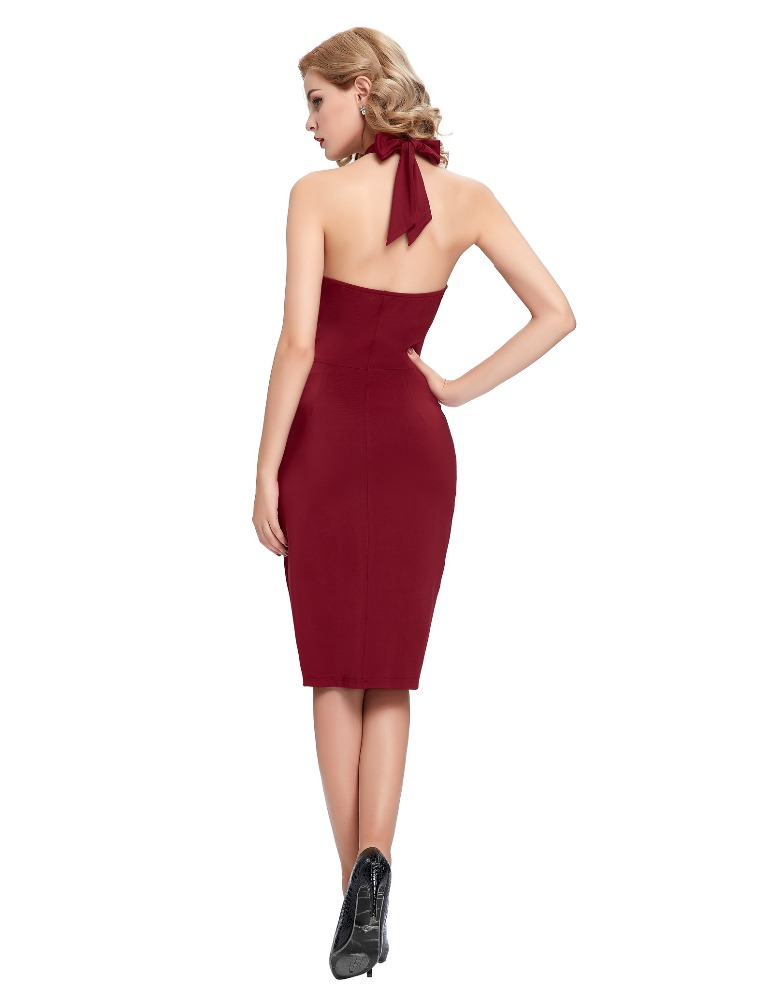 Diane Crossover Burgundy Halter Wiggle Dress Vintage