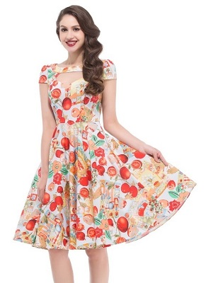50s fruity swing dress