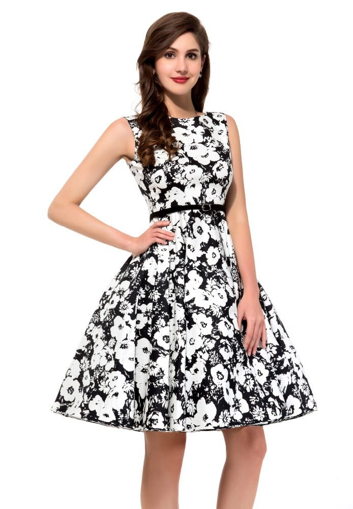97c737a96cbf7 60s Black and White Floral Dress | Vintage Clothing Online - 1950s Glam