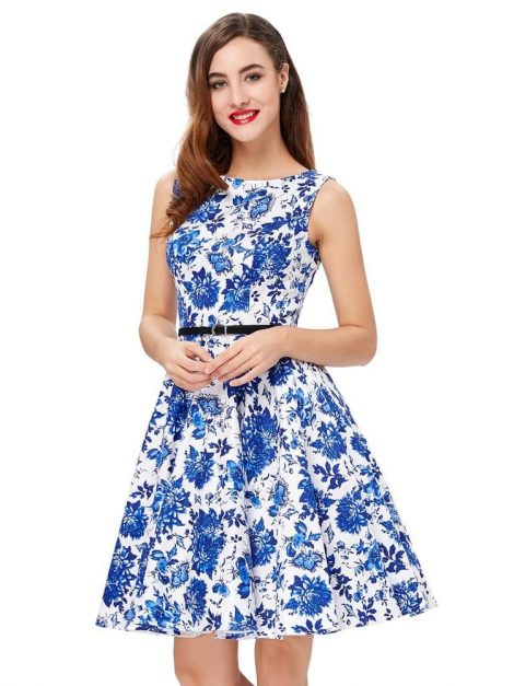 Blue porcelain vintage dress new