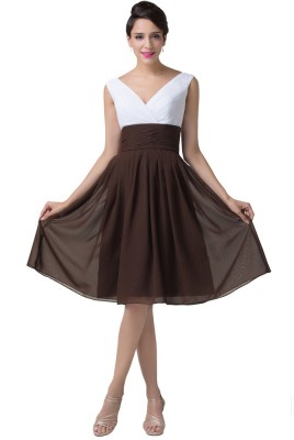 Caffe latte v neck cocktail dress-flare front