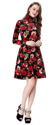 Evie Velvet Floral Dress-full