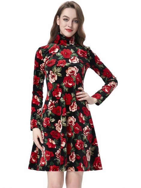 Evie Red Velvet Floral Dress