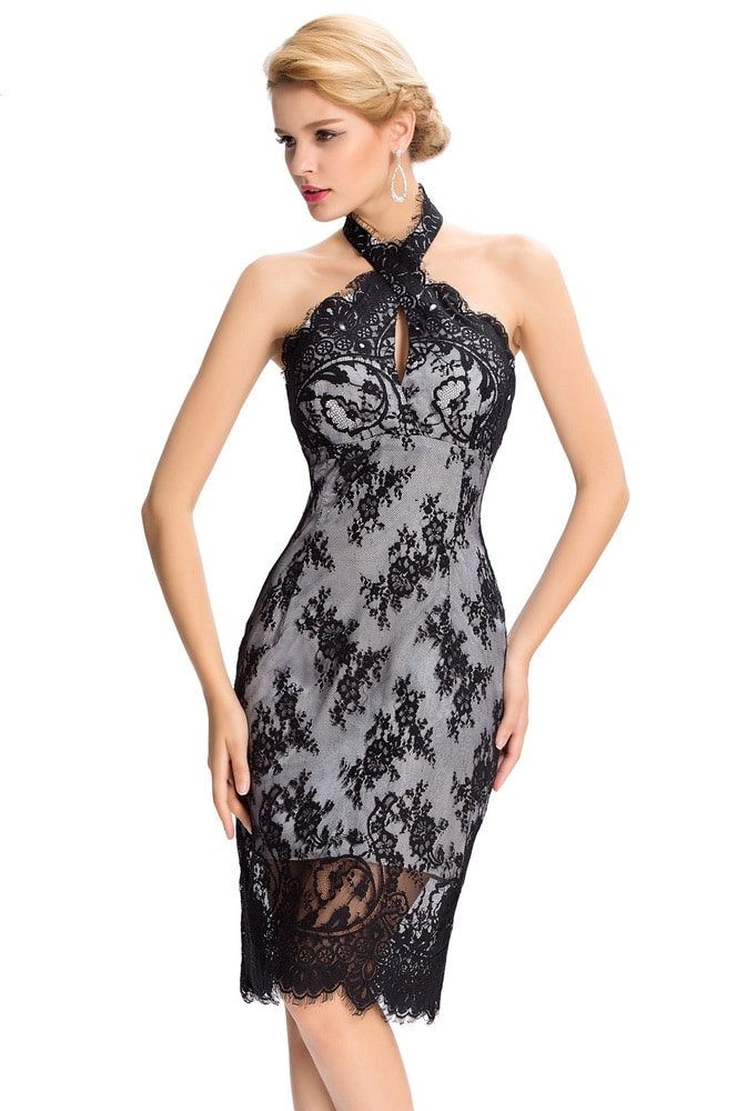 Jackie lace crossover halter dress-front
