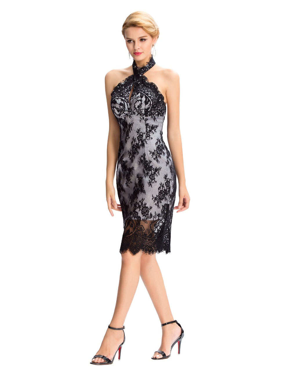 Jackie lace crossover halter dress-full