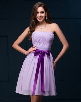 Janet lilac sweetheart chiffon dress-front
