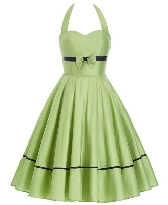 Lime pin up swing halter dress