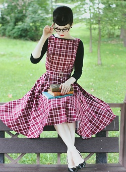 Madison in her Audrey Red Tartan Swing Dress