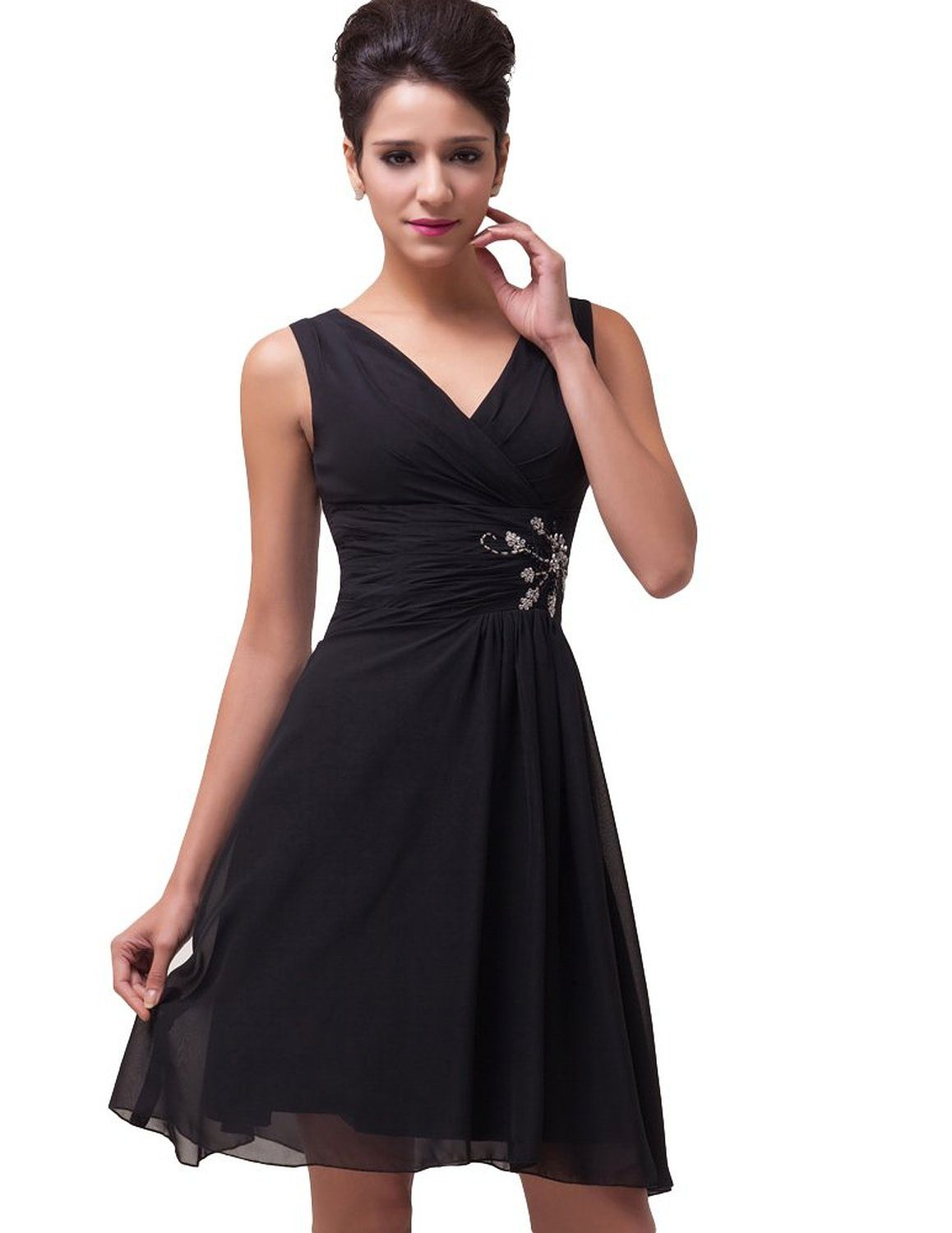 Megan black chiffon cocktail dress-front detail
