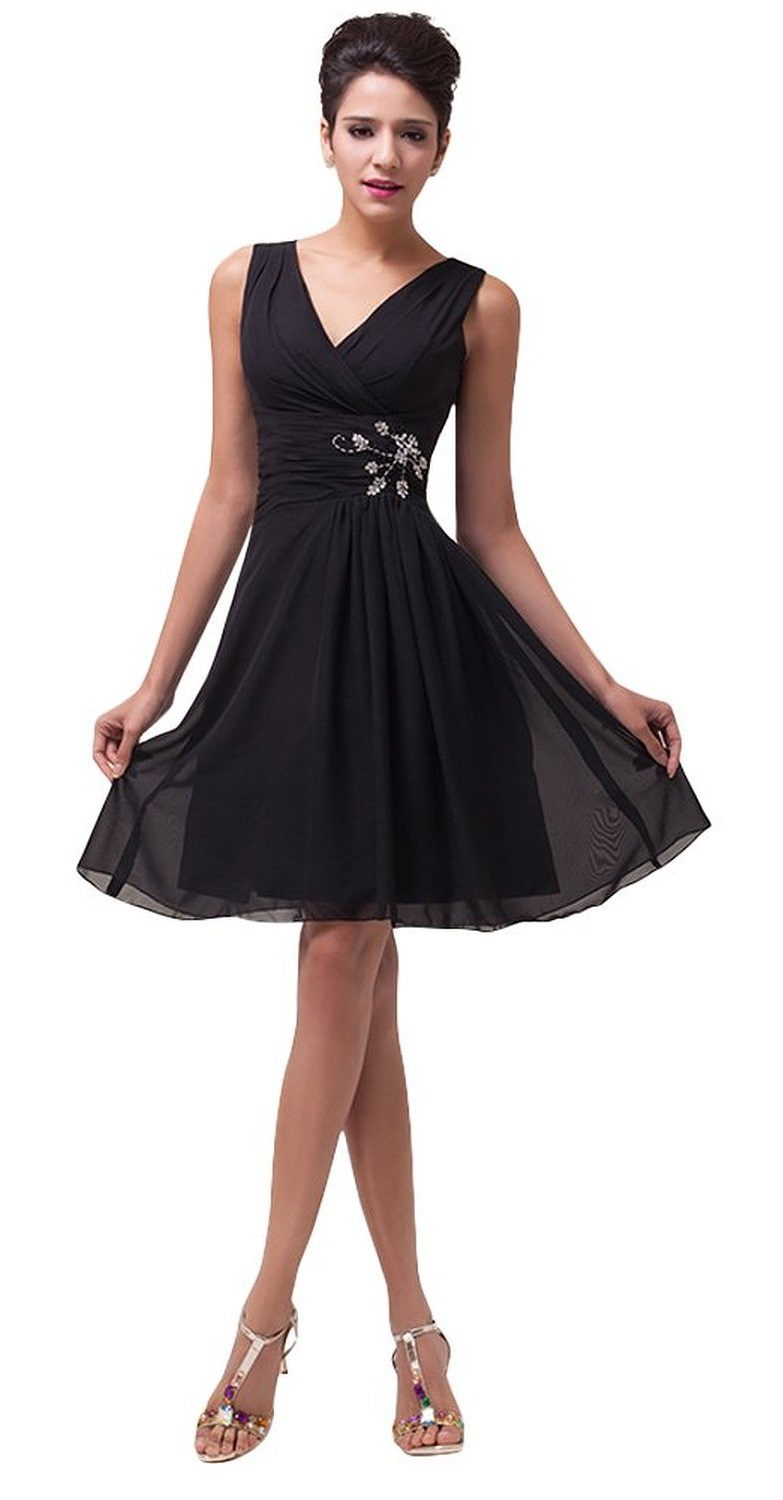 Megan black chiffon cocktail dress-full front
